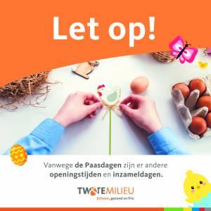 Gewijzigde inzameldagen Twente Milieu rond Pasen