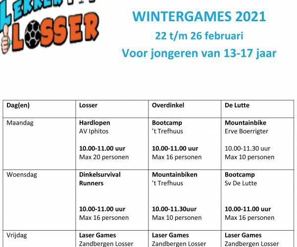 Lekker sporten in voorjaarsvakantie (22 t/m 26 februari) Doe mee aan de Winter Games 2021